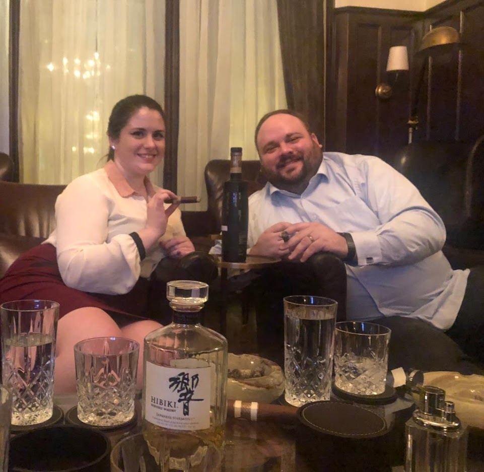 Cherish and Joe enjoy some Bruichladdich at Biggs Mansion